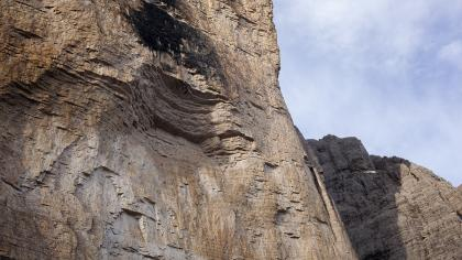 The roof of Panaroma (8c) with the two climbers barely visible bellow.
